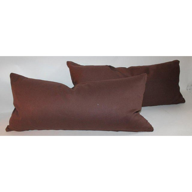 Navajo Indian weaving bolster pillow with brown cotton backing. This diamond pattern weaving pillow is in fine condition...
