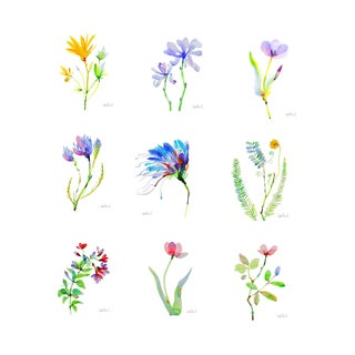 """Set of 9 Botanical Florals, 8x10"""" Giclee Prints on Watercolor Textured Paper. For Sale"""