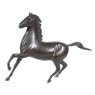 Antique Japanese Bronze Horse Signed For Sale