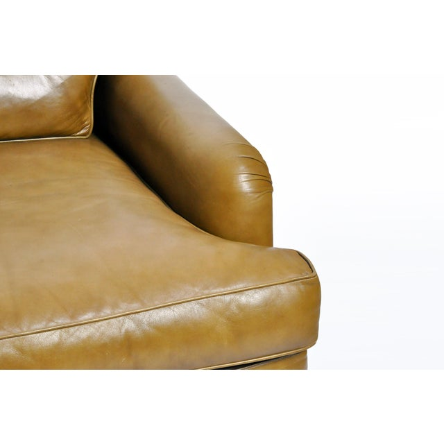Green Mid-Century Modern Green Leather Sofa With Hardwood Base by Edward Wormley For Sale - Image 8 of 11