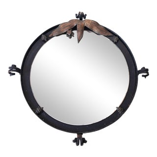 1940s French Art Deco Wrought Iron Stand Vanity Mirror For Sale