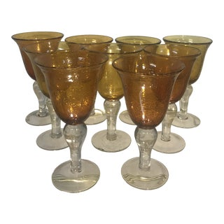 1980s Hand Blown Amber Bubble Glass Goblet-Set of 9 For Sale