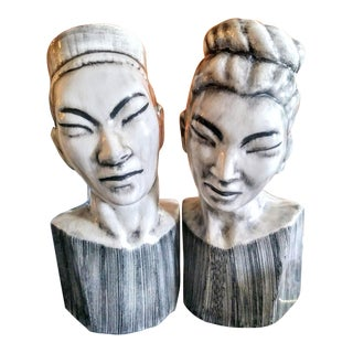 Ceramic Asian Japanese Black and White Modern Man Women Statue Bust - a Pair For Sale