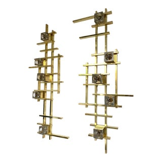 Contemporary Brass Murano Glass Cubic Sconces from Italy - a Pair For Sale