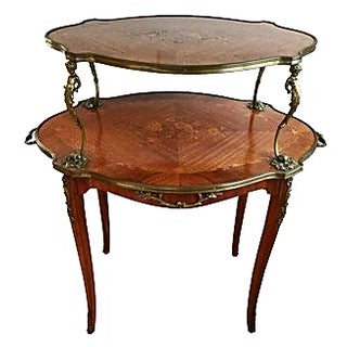 Antique French Louis XV-Style 2-Tier Table For Sale