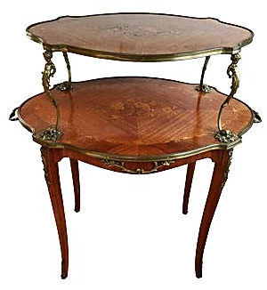Antique French Louis XV Style 2 Tier Table   Image 1 Of 7
