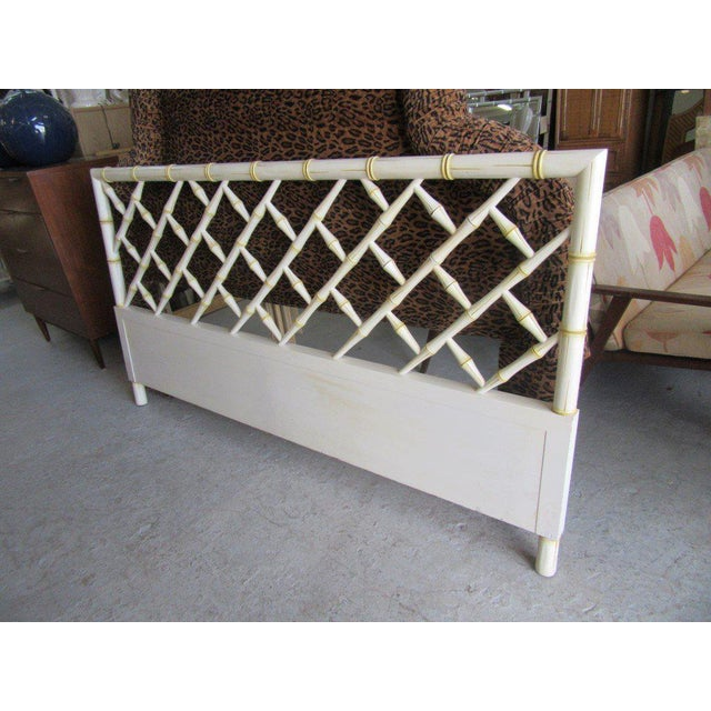 Vintage Faux Bamboo Chippendale Headboard - Image 3 of 7