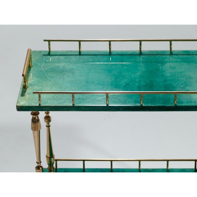 Metal Small Aldo Tura Goatskin Parchment Bar Cart, 1950s For Sale - Image 7 of 10