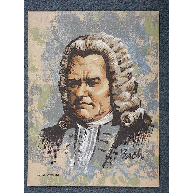This serigraph on board of the famous music composer Johann Sebastian Bach, by listed artist Mark Coomer (1914-2004) ....
