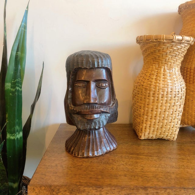 Folk Art Vintage Carved Wooden Head Sculpture For Sale - Image 3 of 9