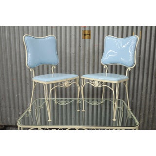 Vintage 5 Piece Blue Wrought Iron Patio Dining Set Table 4 Chairs Mid Century Woodard Preview