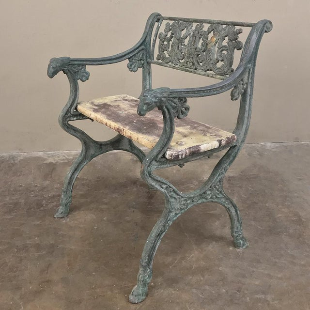 Early 19th Century Early 19th Century French Charles X Cast Iron Armchair For Sale - Image 5 of 11