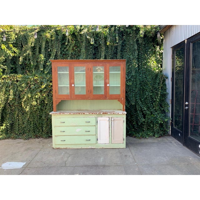 Light Green Antique Farmhouse Hutch For Sale - Image 8 of 8