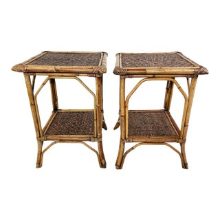 Woven Wicker and Rattan Tables, a Pair For Sale