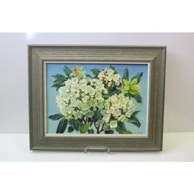 Fantastic oil on canvas of Mountain Laurel and Sky by Frederick Buchholz. White flowers on blue background in gray frame.