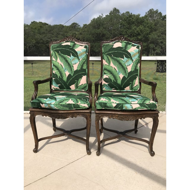 Vintage Coastal Regency Custom Upholstered French Carved Chairs-A Pair For Sale - Image 10 of 13