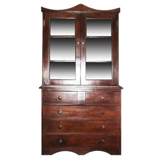 Antique Railroad Hand Carved Red Jarrah Wood China Cabinet