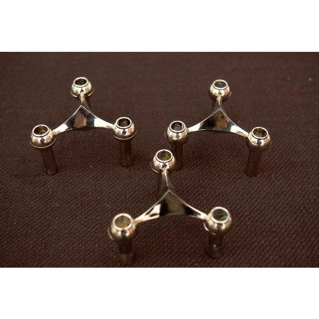 Mid-Century Modern Brass candle holder by Fritz Nagel & Ceasar Stoffi for BMF, 1962 - set of 3 For Sale - Image 3 of 11