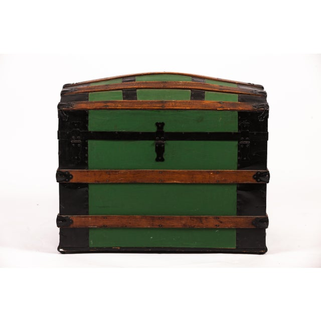 Antique Green Dome Carriage Trunk For Sale - Image 12 of 13