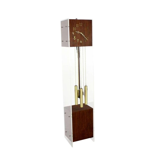 Mid-Century Modern Walnut Lucite Grandfather Clock with Chime For Sale