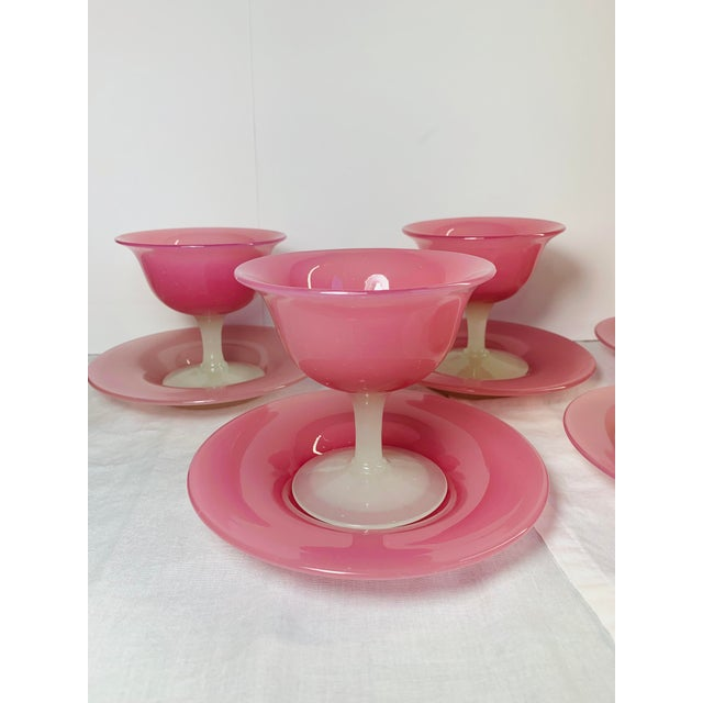 Steuben Glass 1920s Antique Steuben Carder Pink Rosaline Glass Goblets With Matching Plates - Set of 10 For Sale - Image 4 of 12