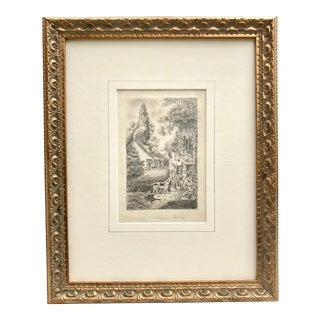 Antique 19th Century American Folk Art Primitive Drawing Country Scene For Sale