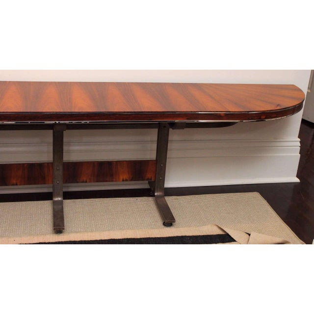 Mid-Century Modern Rosewood & Steel Console For Sale - Image 3 of 11