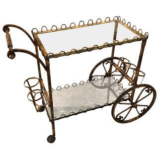 1960s Vintage Hollywood Regency Style Gilt Iron Bar Cart For Sale
