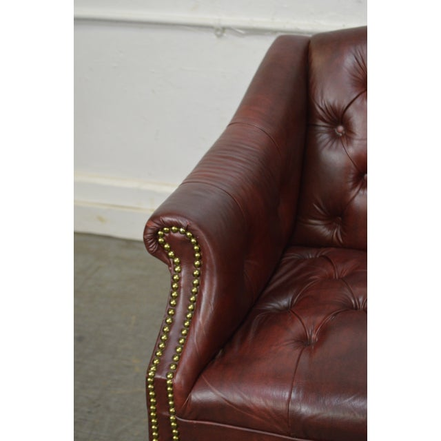 Chippendale Chesterfield Style Tufted Faux Leather Club Chair For Sale - Image 11 of 13