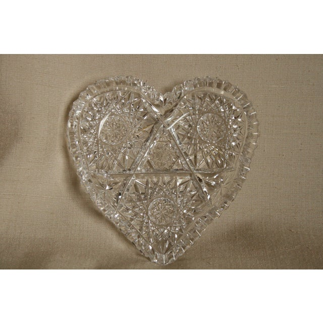 Glass Vintage Heart-Shaped Lead Crystal Ashtray/Trinket Tray For Sale - Image 7 of 7