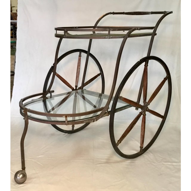 1950s Bronze and Glass Bar Cart With Wooden Spoked Wheels For Sale - Image 13 of 13