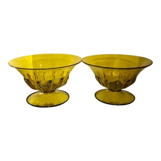 Pair of Vintage Yellow & Blue Venetian Glass Bowls For Sale