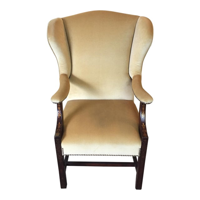 Comfort Home Tan Wingback With Nailhead Chair - Image 1 of 8