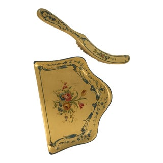 Florentine Hand Painted Hand Broom & Dust Pan For Sale