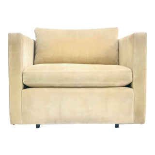 Charles Pfister for Knoll Tuxedo Chair in Suede For Sale