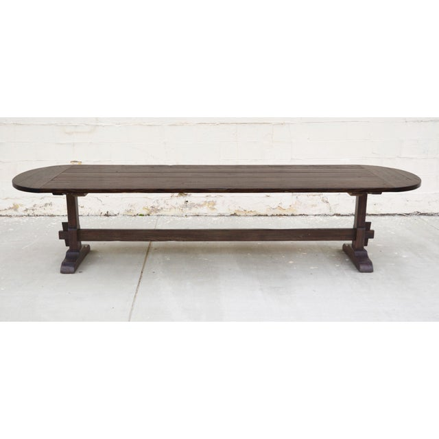 """This trestle table is seen here in 132"""" x 45"""" with radius ends, however it can be built in any size the price shown here..."""