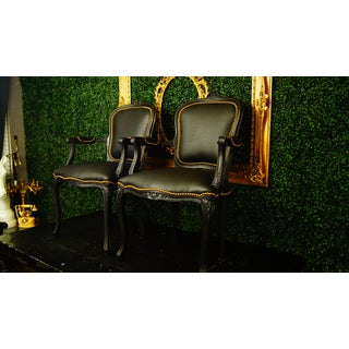 Vintage French Louis XV Black Chairs- a Pair Preview