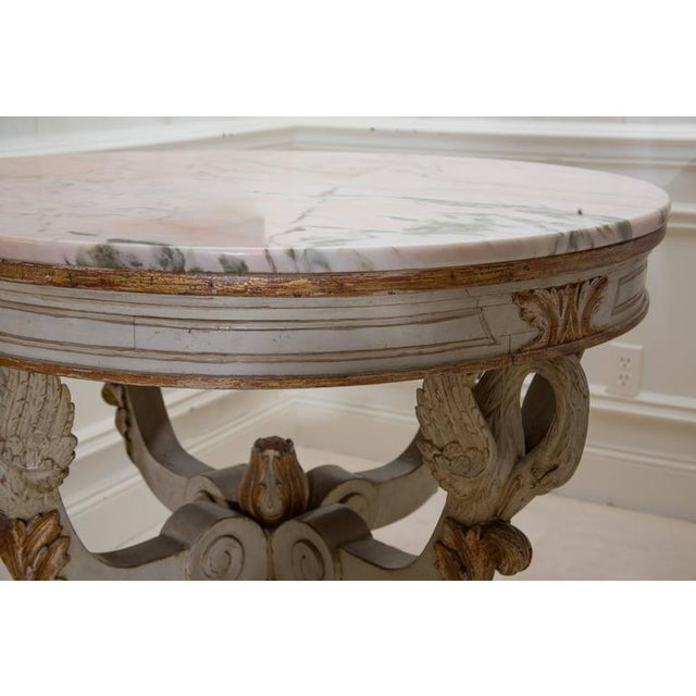 19th Century Swedish Circular White Painted and Parcel-Gilt Table - Image 6 of 8