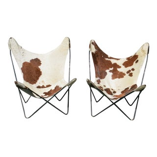 Vintage Faux Cow Skin Butterfly Chairs - a Pair For Sale