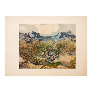 """1950s Vincent Van Gogh, """"Landscape With Olive Trees"""" First Edition Vintage Lithograph Print For Sale"""