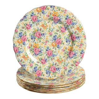 James Kent Rosalynde Chintz Luncheon Plate Set/6 For Sale