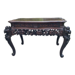 Antique French Mahogany Chinoiserie Console Table For Sale