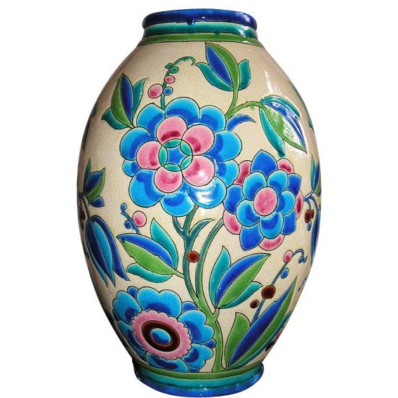 Blue 1930s Keramis Boch Blue Green and Pink Ceramic Vase For Sale - Image 8 of 8