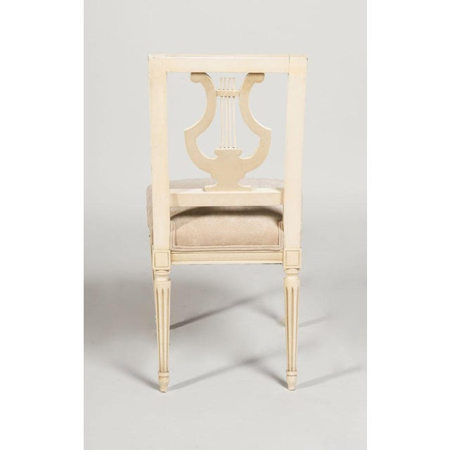 French Jansen French Louis XVI Suede Upholstered Dining Chairs - Set of 6 For Sale - Image 3 of 5