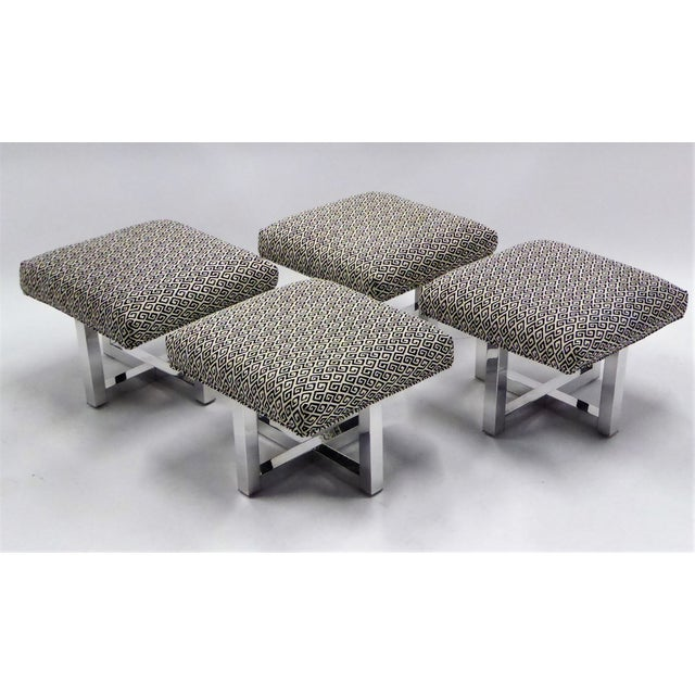 1960s Pair of 1960s Polished Aluminum Upholstered Stools Benches( Two Pairs Available) For Sale - Image 5 of 11