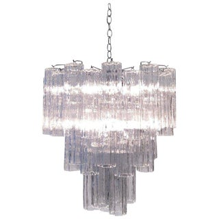 "Italian ""Tronchi"" Clear Murano Glass Chandelier by Venini For Sale"