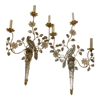 1930s Three Light Floral Art Nouveau Gold and Mirrored Silver Bird Sconces - a Pair For Sale