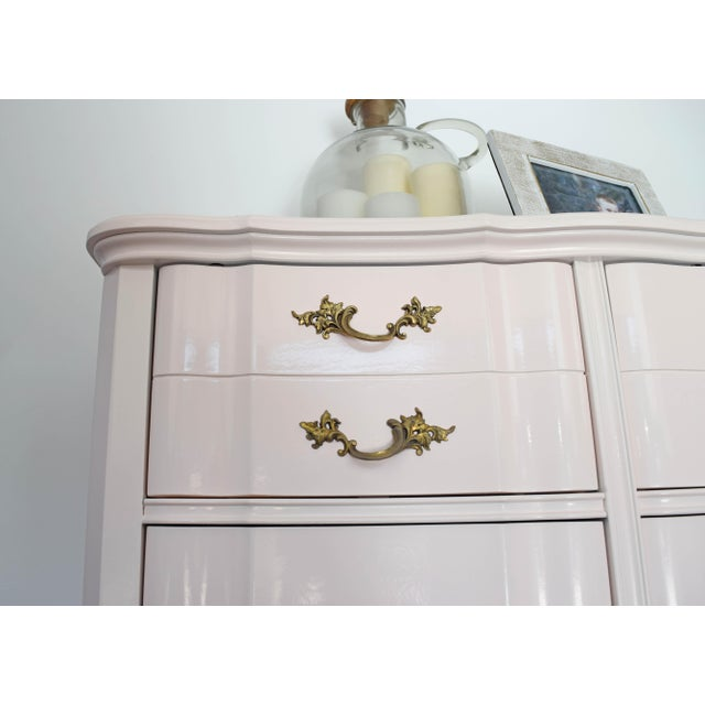 French Provincial Huntley Glossy Pink Lacquer Dresser For Sale - Image 9 of 13