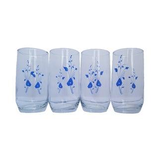 Vintage Floral Blue Flower Highball Juice Glasses - Set of 4 For Sale