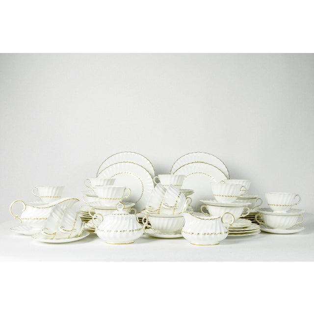 Gold Mid Century English Royal Doulton Dinnerware - Set of 71 For Sale - Image 8 of 8